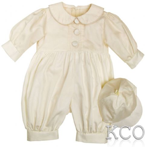 Pintuck Romper Ivory~ Boys Romper Suits